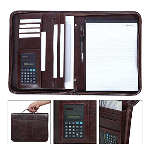 Leathario Portfolio A4 File Folder Padfolio Writing Pad Business Presentation Folder PU Black (brown-11)