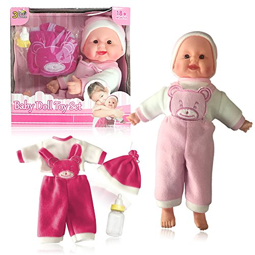 3 Bees & Me Baby Doll & Accessories Gift Set for Girls and Boys - 14 inch Soft Body Girl Doll with Bottle and 2 Sets of Clothes