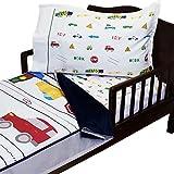 RoomCraft Red Light Green Light 4pc Toddler Bedding Set Cars and Trucks Blanket and Sheet Set