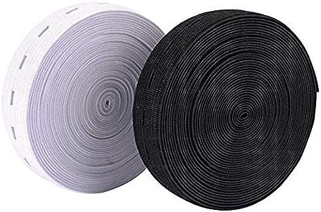 25/m nastro di gomma 20/mm larghezza in Nero O Bianco bianco