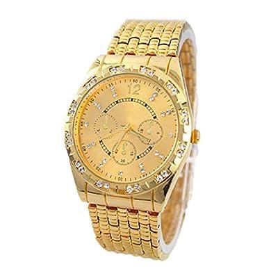 Bessky(TM) Gold 2015 Fashion Luxury Geneva Men Diamond Metal Band Analog Quartz Wrist Watch