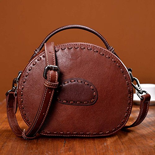 Signora Marrone Borsa Spalla Bag Singola Crossbody Donne Le Pelletteria Per Messenger Piccola Tote Della Royalr Retro Girls wgUpTqx16c