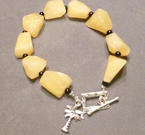 Lemon Quartz Nugget and Black Onyx Bracelet
