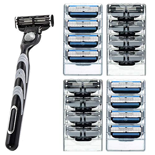 Men's 3 Razor Blades Refills Cartridge Pack with Shaving Razor Handle -Close Shave Mens Manual Shaver Safety -(1 Handle + 16 Cartridges)