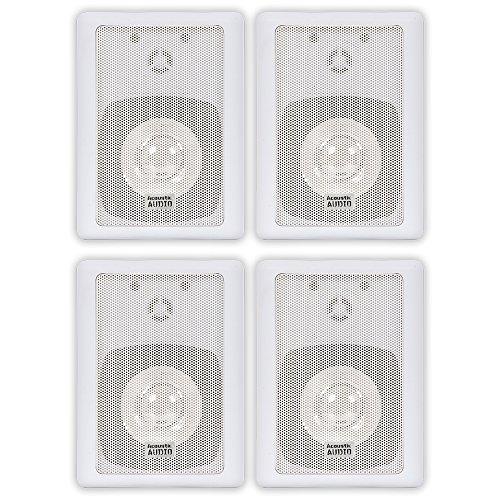 Acoustic Audio 151W Indoor Outdoor 2 Way Speakers 1200 Watt White 2 Pair Pack 151W-2Pr