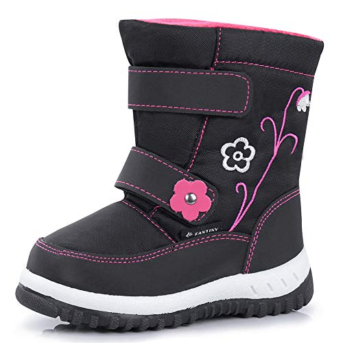 CIOR Fantiny Winter Snow Boots for Boy and Girl Outdoor Waterproof with Fur Lined(Toddler/Little Kids) U118WXZ012,Black,25 -
