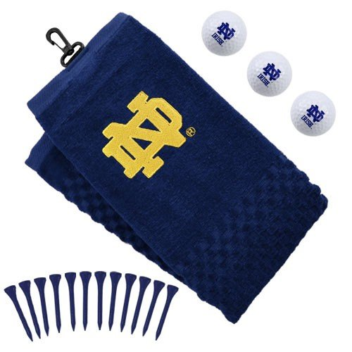 Team Golf NCAA Notre Dame Fighting Irish Gift Set Embroidered Golf Towel, 3 Golf Balls, and 14 Golf Tees 2-3/4