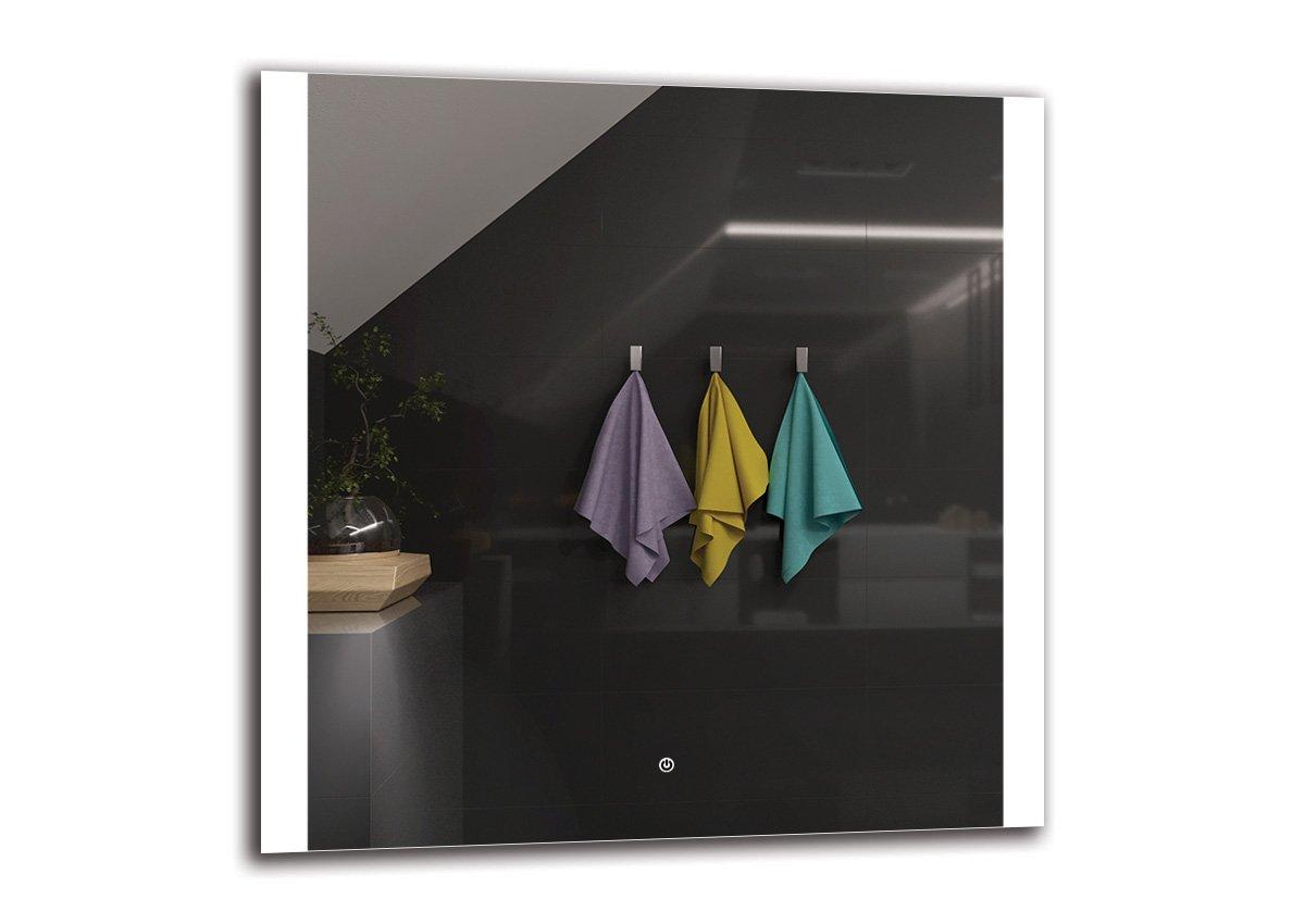 LED Spiegel Deluxe - Spiegelmaßen 90x90 cm - Touch Schalter - Berührungsschalter - Badspiegel - Wandspiegel Lichtspiegel - Fertig zum Aufhängen - ARTTOR M1CD-28-90x90 - Lichtfarbe Weiß warm 3000K