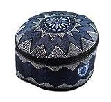 Alwee ALW006 Muslim Prayer Headware Kufi Hat Men Islam Skull Cap Ramadan Eid Gift (22.5 Inch (57 cm.), Blue)