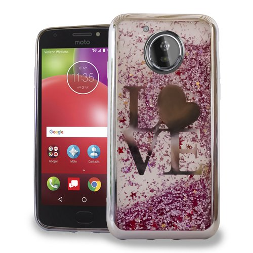 Luckiefind Case Compatible With Motorola Moto E4/XT1767, Hybrid Liquid Quicksand with Glitter Fused Hybrid Hard PC TPU Cover Case Accessories (Love)