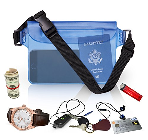 Waterproof Waist Pouch by Hydro Gizmos -Large Travel Bag with Adjustable Long Waist Strap& Buckle, Transparent Blue 3-Zipper Design – Lightweight PVC, Touch-Screen Sensitive - Keeps Everything Dry (6 Light Canoe)