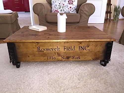 Fabrieksprijs Uncle Joe UZs Roosevelt Field, 100 x 65 x 30 cm, hout, lichtbruin, met klapbaar deksel, vintage, shabby chic salontafel, bruin, 100x65x30 cm  l2YopES