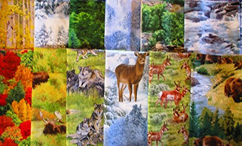 - 12 fat quarters Landscape Medley & North American Wildlife from Elizabeth's Studio 100% Cotton Quilt Fabric Trees, deer, antelope, wolf, bear, moose