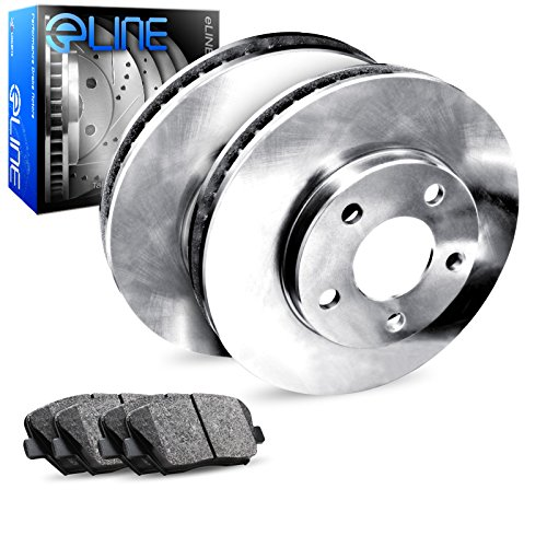 (For 2012-2016 Hyundai, Kia Accent, Rio Rear Blank Brake Rotors+Ceramic Pads)