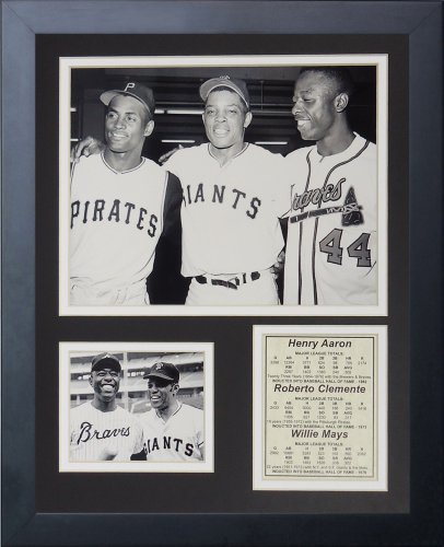 Legends Never Die Hank Aaron, Roberto Clemente and Willie Mays Framed Photo Collage, 11 by -