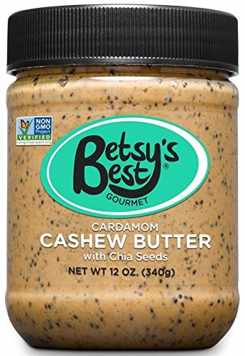 Gourmet Cardamom Cashew Butter with Chia Seeds by Betsy's Best - All Natural and GMO-Free