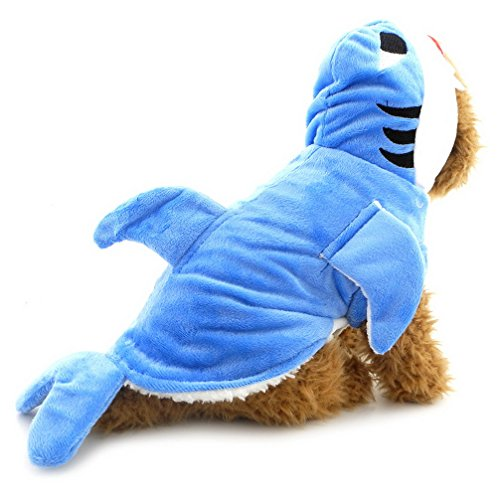 Ranphy Small Dog Shark Attack Costume Outfit Hooded Jumpsuit Puppy Pajamas Winter Pet Apparel Blue (Shark Suit For Dogs)