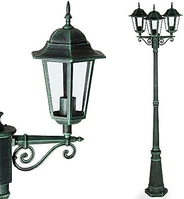 Deuba Lámpara De Pie Con 3 Faroles De Aluminio Verdes Luz De
