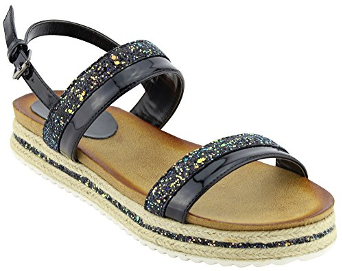 Cambridge Utvalda Womens Öppen Tå Två Spänne Slingback Glitter Mixed Media Espadrille Flatform Sandal Svart