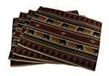 Zeckos Polyester Place Mats 4 Piece Forest Bears Rustic Lodge Fabric Placemat Set 18.5 X 0.1 X 14 Inches Brown