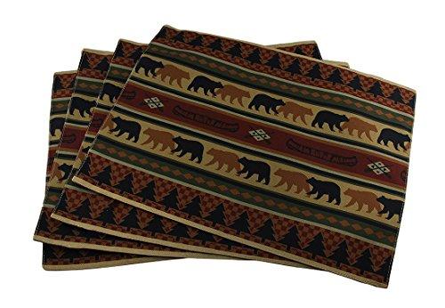 Zeckos 4 Piece Forest Bears Rustic Lodge Fabric Placemat Set