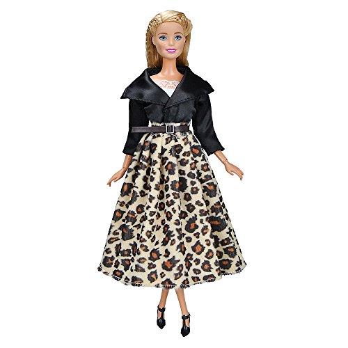 E-TING Handmade Fashion Doll Clothes Short Skirt Office Style Wears Dress for Girl Dolls (Black Jacket +Leopard Long Skirt)