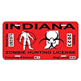 Indiana IN Zombie Hunting License Permit Red - Biohazard Response Team Novelty Metal Vanity License Tag Plate