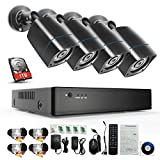 YIMODO 720P HD-AHD Security Camera System 8 Channel 1080H DVR Video Recorder with 1TB Surveillance Hard Disk Drive Pre-installed and (4) 2000TVL Weatherproof Cameras with Build-in IR-cut filter
