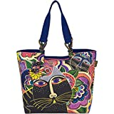 Laurel Burch Shoulder Tote, 21 by 5 by 15-Inch, Carlotta's Cats