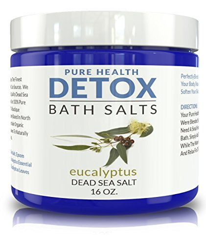 Detox Bath Salt Soak. Relaxing All-Natural Mineral Blend of Dead Sea and Epsom Salts Plus Coconut Oil and Organic Eucalyptus. Helps Cleanse Your Body and Relax Your Muscles. 16 oz.