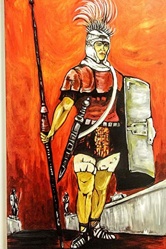 Home Comforts Peel-n-Stick Poster of Sword Warrior Soldier Troy Helm Painting Armor Vivid Imagery Poster 24 x 16 Adhesive Sticker Poster Print