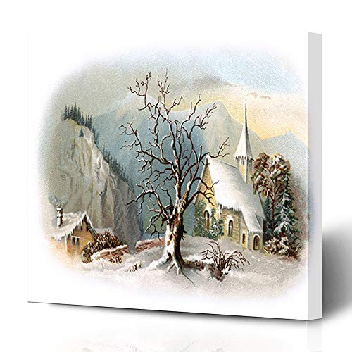 Ahawoso Canvas Prints Wall Art 12x16 Inches Vignetted Winter Snowy Chapel Scene Early Vintage Historic Christmas Ives Currier Antique Church Old Decor for Living Room Office Bedroom