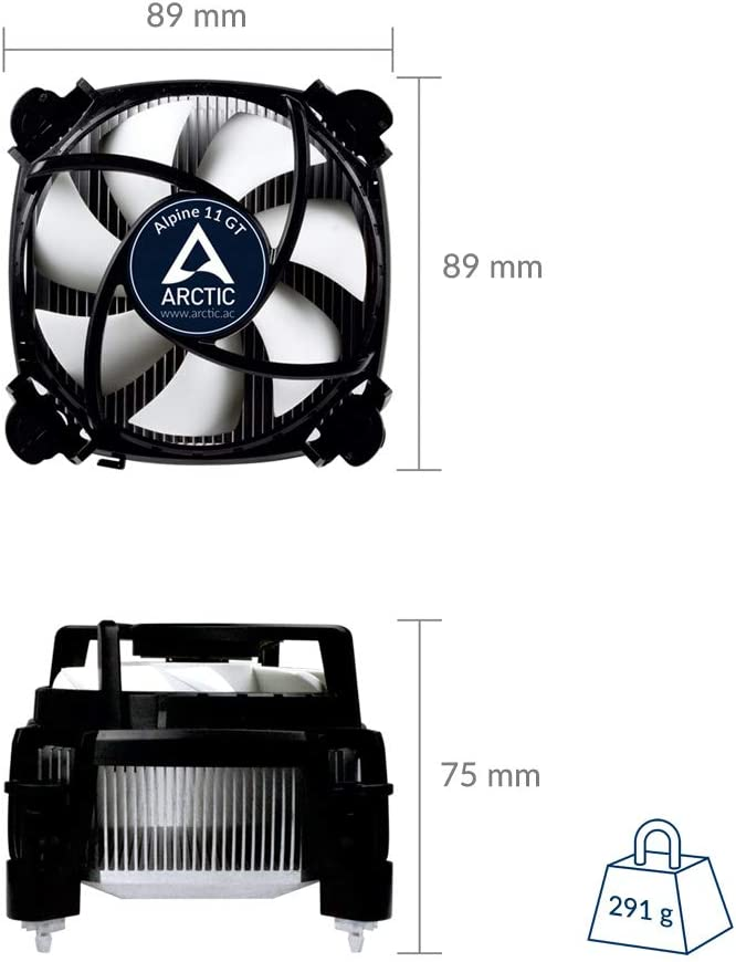 Supports Multiple Sockets ARCTIC Alpine 11 Plus CPU Cooler 92mm PWM Fan at 23dBA Intel
