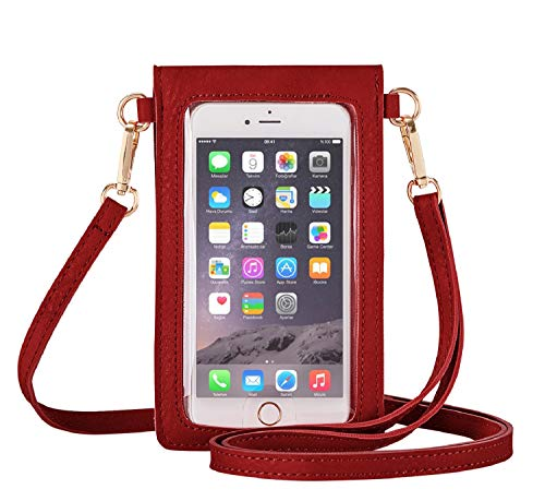 AnsTOP Lightweight Leather Mini Pouch Small Crossbody Bag Cell Phone Purse Wallet Shoulder Bags for Women, Fit with iPhone X, 8 Plus (Red)