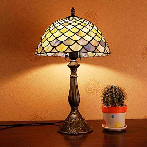 12 inch Tiffany Style Bedroom Light, Fish Scale Design Stained Glass Bedside Table Lamp, Antique Metal Base Nightstand Desk Lamp for Living Room, Cafe, E27-Dimming