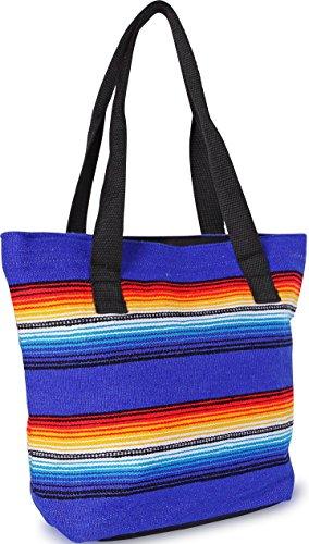 Handwoven Serape Tote Bag Sturdy woven cotton straps. Large Eco Friendly Tote Bag,Vibrant Colors, zipper closure and interior pickets (Blue)