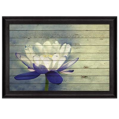 Water Lily with White and Purple Petals Over Wood Panels Nature Framed Art, Crafted to Perfection, Wonderful Visual