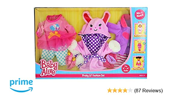 amazoncom baby alive pretty lil fashion clothing set features 3 outfits makes perfect accessories for your 12 14 dolls toys games