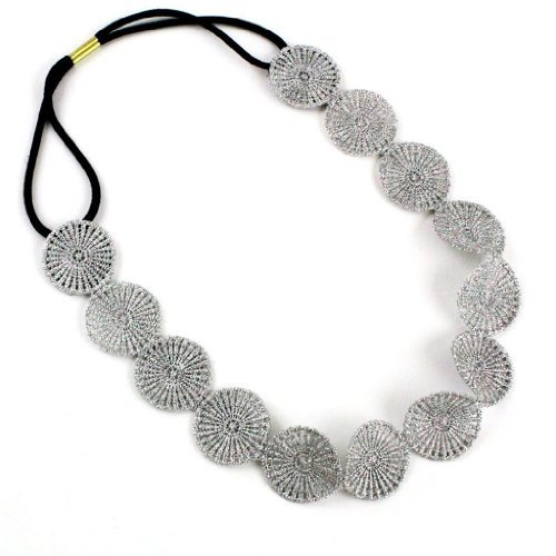 Fashionwu Lady Silver Hook Flower Wafer Stretchy Hair Band Headband