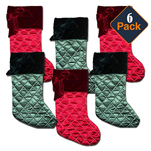 Green Velvet Christmas Stocking - Christmas Stockings Ultimate Set -- Pack of 6 Deluxe Quilted Satin and Plush Red and Green Holiday Stockings for Family Kids (18