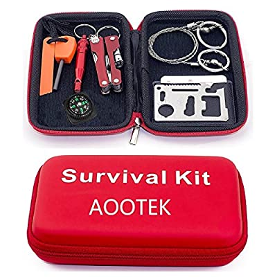 Aootek Survival Kit Emergency SOS Survive Tool Pack for Camping Hiking Hunting Biking Climbing Traveling and Emergency
