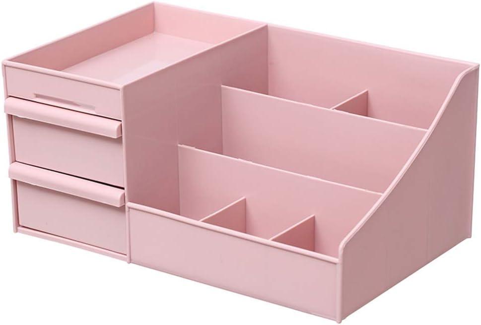 MOM AI Boîtes d'étagère de Bureau Boîte de Rangement Cubes Conteneur Boîte de Rangement en Plastique Bijoux Produits de Soin de Peau de Finition Pink