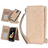 lg g pro 2 case - LG G Stylo 2 Case, LeCase 12 Card Holder Pro - [Zipper Cash Storage] Premium Button PU Leather Wallet Case Cover With Detachable Magnetic Hard Case For LG Stylus 2 / G Stylo 2 (LS775), Khaki