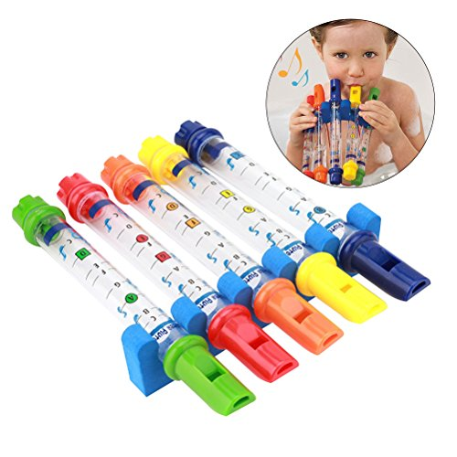 TOYMYTOY Kids Bath Toys Water Flutes Tub Tunes Musical Toys Set of 5