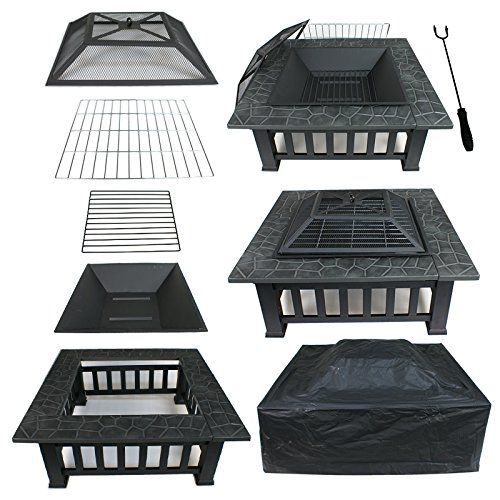 Nova Microdermabrasion 32'' Outdoor Fire Pit Square Metal Firepit Backyard Patio Garden Stove Fireplace with Weather Resistant Cover & Poker