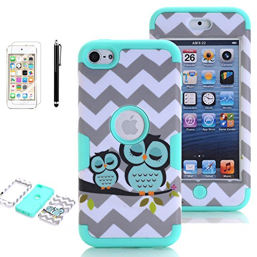 iPod Touch 5th Generation Case, iPod Touch 6 Cases for Girls, VODICO 3 Layer Impact Resistant Hybrid Soft Silicone Hard Plastic Protective Case Cover with Screen Protector+Stylus (Owl Mint)