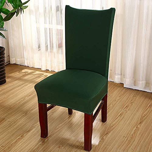 Ruili Inc Dining Room Chair Covers Set of 4 Kitchen Desk Banquet Dining Chair Seat Slipcovers Protector for Living Room Hotel Meeting Party Home Spandex Removable (Dark Green) (Hotel For Set Table Chair)