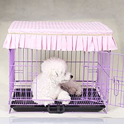 SymWell(TM) Cute Ruffles Pet Dog Crates Cover Fashion Dustproof Puppy Cage Cover Without Cage S-XL