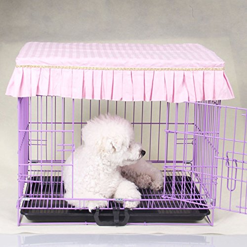 Light Pink M Light Pink M SymWell(TM) Cute Ruffles Pet Dog Crates Cover Fashion Dustproof Puppy Cage Cover Without Cage S-XL