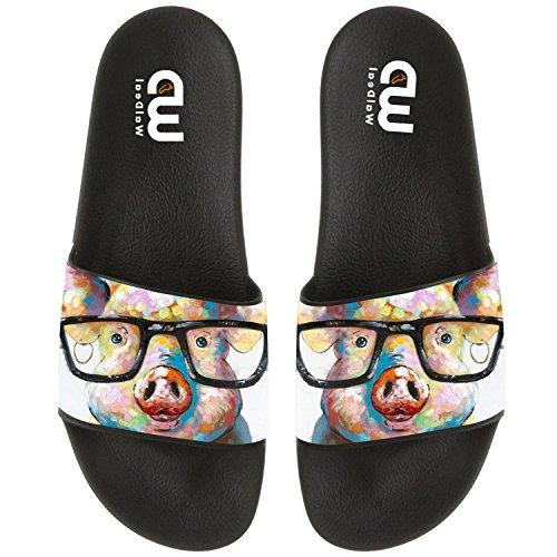 For Pig Outdoor Men Boy Slide Sandal Girl Glasses Painting Cute Men with Art Beach Shoes Women Slipper Summer 8nPAOTx